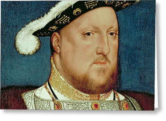 Close Up Paintings Greeting Cards - King Henry VIII Greeting Card by Hans Holbein the Younger