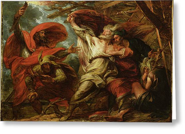 Jesters Greeting Cards - King Lear Greeting Card by Benjamin West