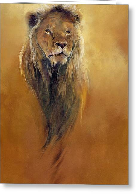 Wild Animals Paintings Greeting Cards - King Leo Greeting Card by Odile Kidd