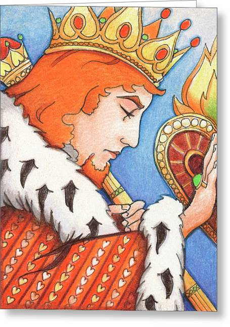Yang Drawings Greeting Cards - King of Hearts Greeting Card by Amy S Turner