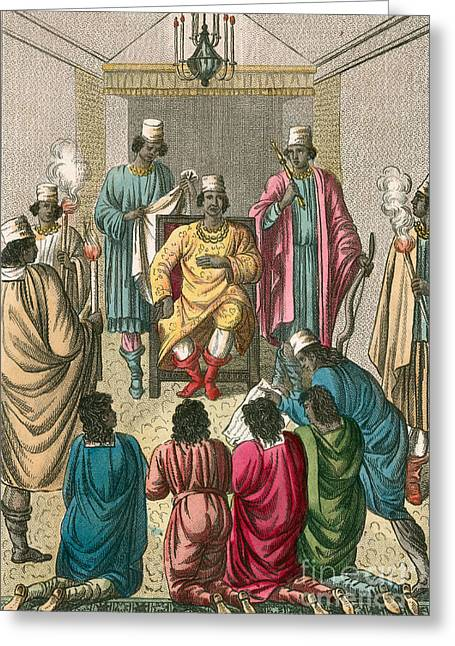 Slaves Greeting Cards - King Of Kongo Receiving Dutch Greeting Card by Photo Researchers