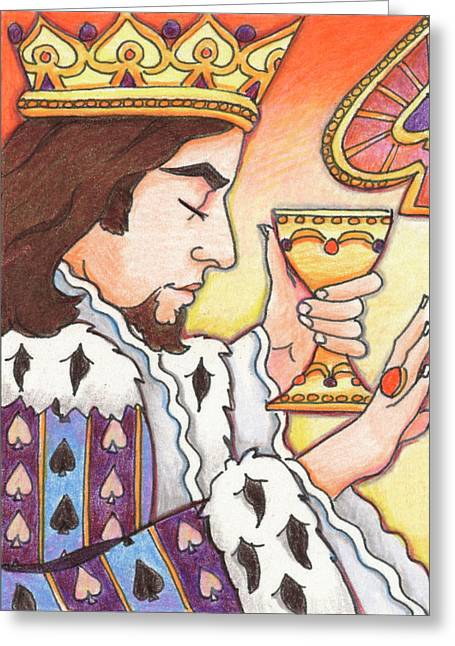 Yang Greeting Cards - King of Spades Greeting Card by Amy S Turner