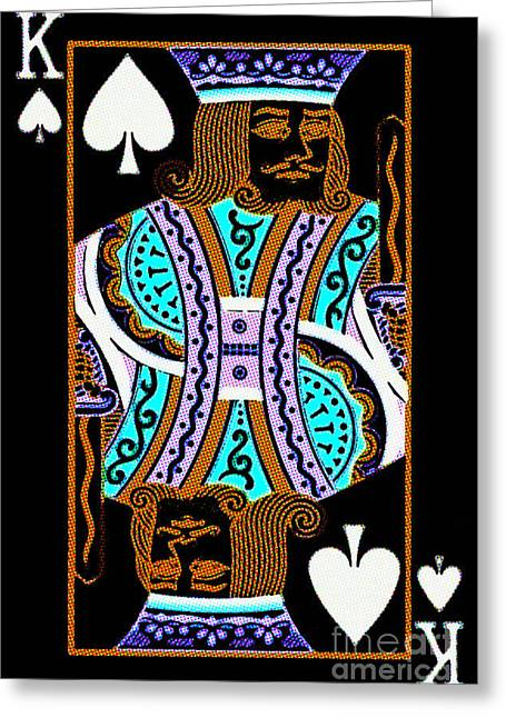 Playing Car Greeting Cards - King of Spades Greeting Card by Wingsdomain Art and Photography