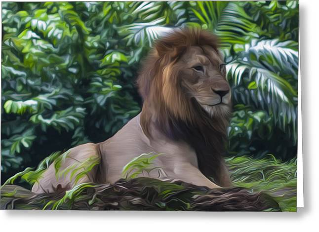 Close-up Of Cat Greeting Cards - King of the Jungle Greeting Card by Zoe Ferrie
