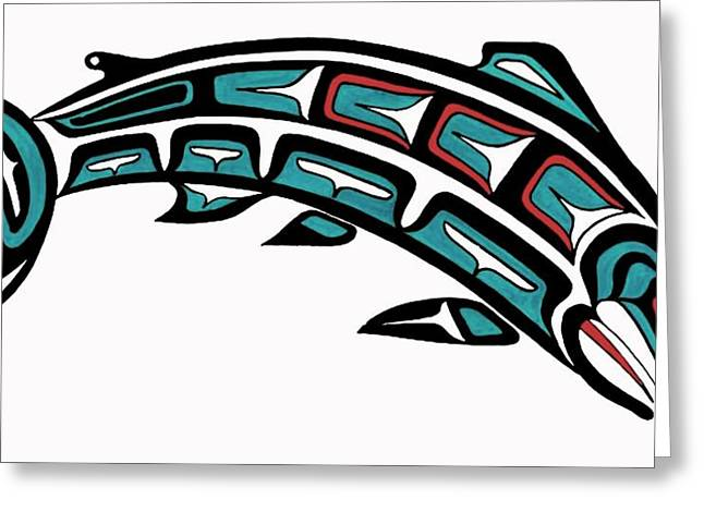 Salmon Paintings Greeting Cards - King Salmon Greeting Card by Bob Patterson
