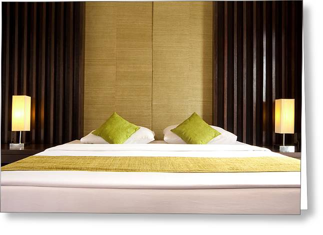 king size bed Greeting Card by ATIKETTA SANGASAENG