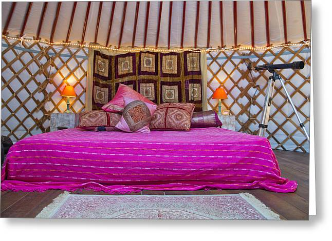 Yurts Greeting Cards - King Size Bed With Bright Colours Greeting Card by Corepics