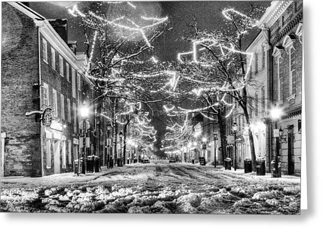 Olde Greeting Cards - King Street in Black and White Greeting Card by JC Findley
