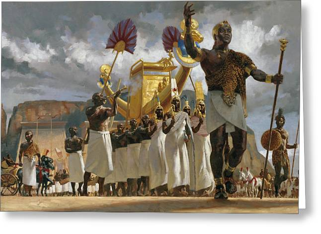 Leopard Skin Greeting Cards - King Taharqa Leads His Queens Greeting Card by Gregory Manchess