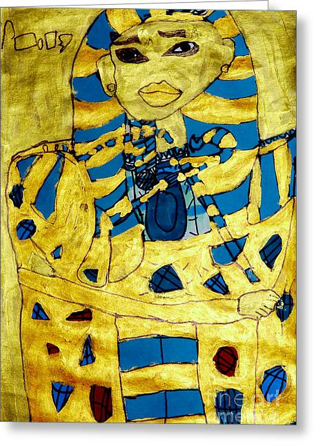 Egyptian Sarcophagus Greeting Cards - King Tut Greeting Card by Stephanie Ward