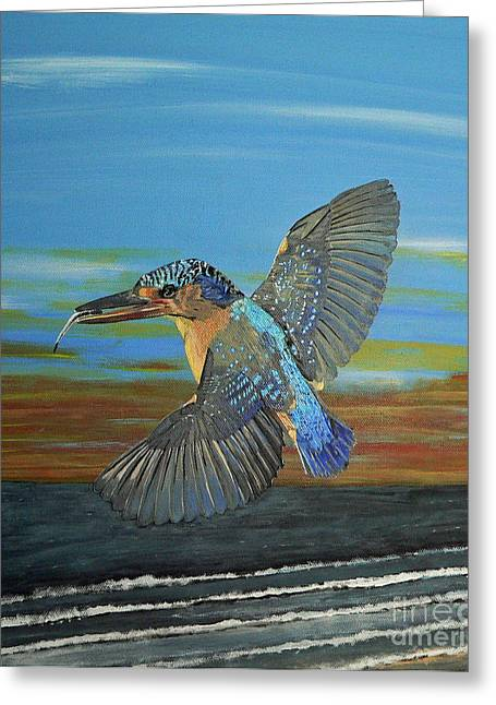 Eric Kempson Greeting Cards - Kingfisher of Eftalou Greeting Card by Eric Kempson