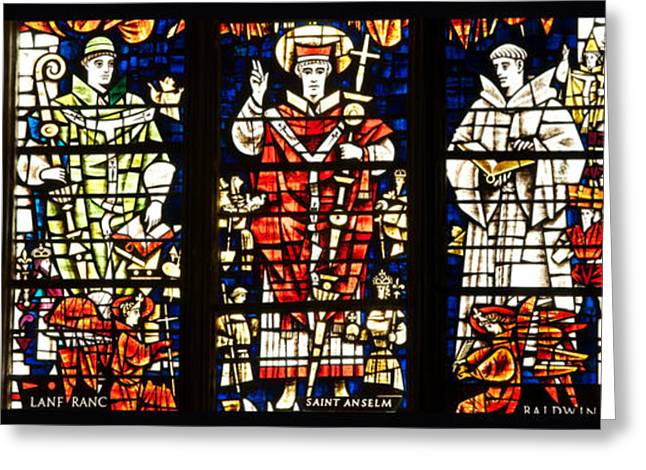 Kings And Holy Men Medieval Stained Glass Collage Greeting Card by Lisa Knechtel