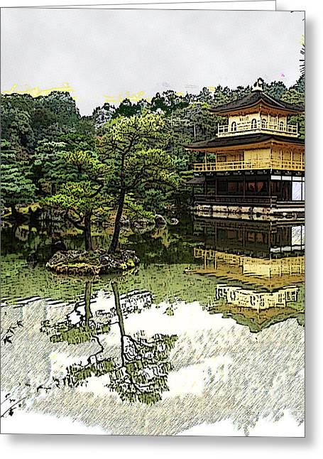 Kyoto Digital Greeting Cards - Kinkaku-ji Kyoto Greeting Card by Sally Fowler