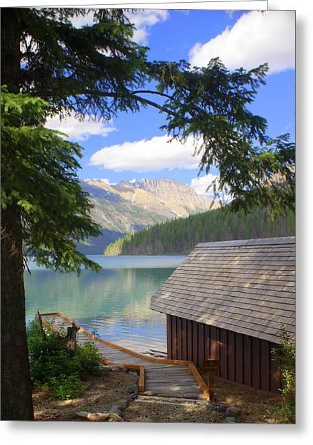 Marty Koch Photographs Greeting Cards - Kintla Lake Ranger Station Glacier National Park Greeting Card by Marty Koch