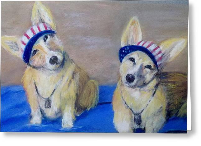 4th July Pastels Greeting Cards - Kipper and Tristan Greeting Card by Trudy Morris
