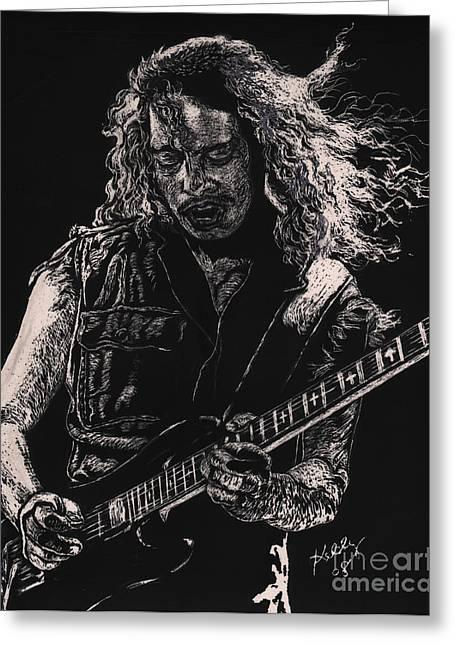 Metallica Greeting Cards - Kirk Hammett Greeting Card by Kathleen Kelly Thompson