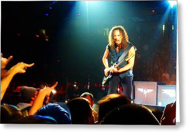Metallica Mixed Media Greeting Cards - Kirk Hammett of Metallica Greeting Card by Jeff Stein