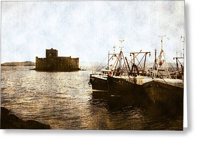 Fishing Boats Greeting Cards - Kisimul Castle Scotland Greeting Card by Jasna Buncic