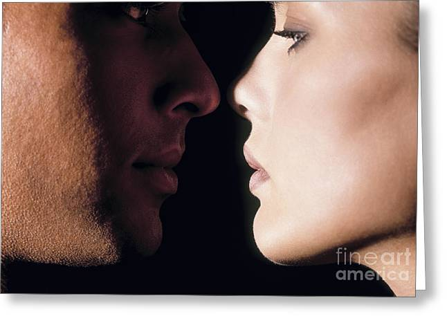 Close To People Greeting Cards - Kiss Greeting Card by Juan  Silva