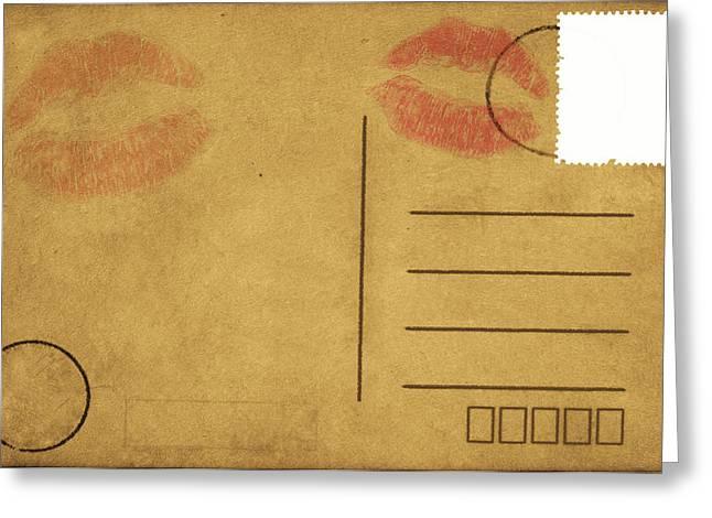 Rag Paper Greeting Cards - Kiss Lips On Postcard Greeting Card by Setsiri Silapasuwanchai