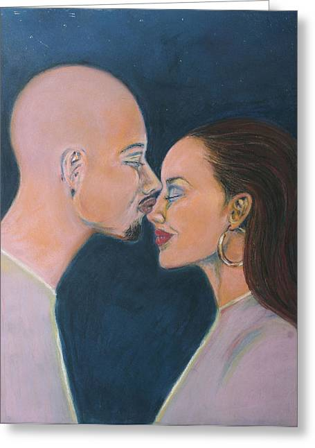 Couple Pastels Greeting Cards - Kiss  Greeting Card by Marcia Green