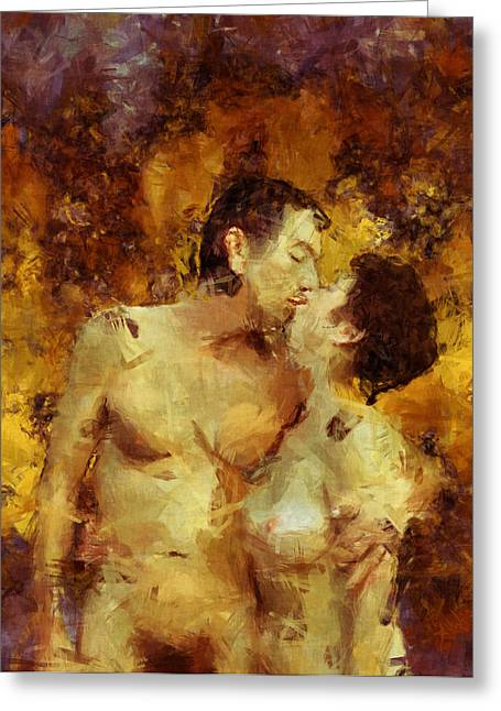 Kiss Me Again Greeting Card by Kurt Van Wagner