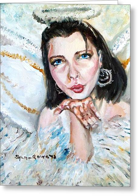 Gold Earrings Paintings Greeting Cards - Kiss of an Angel Greeting Card by Shana Rowe