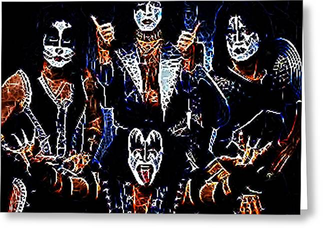 Rock Groups Photographs Greeting Cards - Kiss Greeting Card by Paul Ward