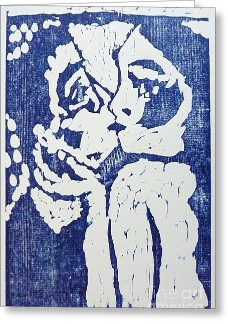 Printmaking Reliefs Greeting Cards - Kiss Greeting Card by Preston -