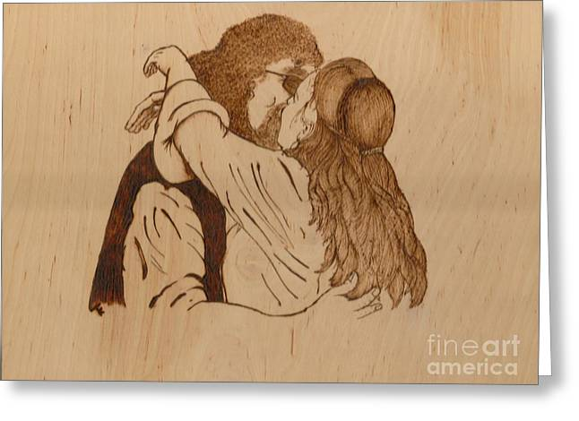 Wife Pyrography Greeting Cards - Kiss The Bride Greeting Card by TK Mayfield