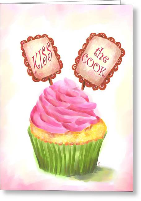 Cupcake Paintings Greeting Cards - Kiss the Cook Cupcake Art Greeting Card by Jai Johnson