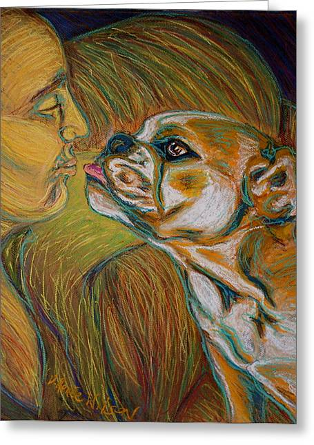 Rescue Pastels Greeting Cards - Kisses Greeting Card by D Renee Wilson