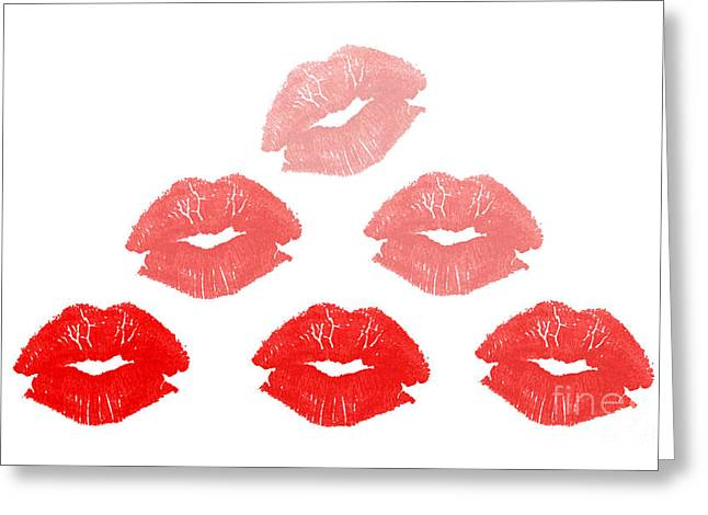 Lip Greeting Cards - Kisses in pyramid shape Greeting Card by Blink Images