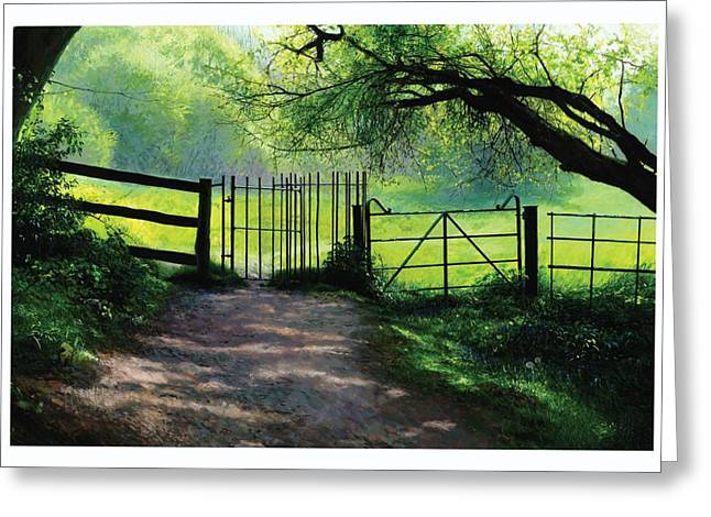 Sun Rays Paintings Greeting Cards - Kissing Gate Greeting Card by Helen Parsley