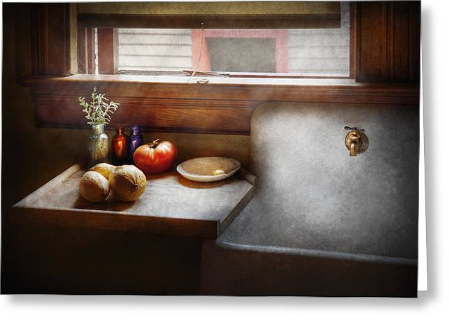 Gifts For A Cook Greeting Cards - Kitchen - Sink - Farm Kitchen  Greeting Card by Mike Savad