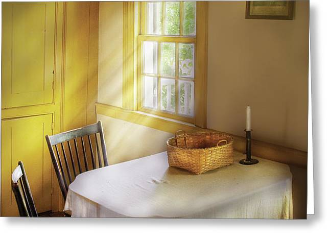 Kitchen - The empty basket Greeting Card by Mike Savad