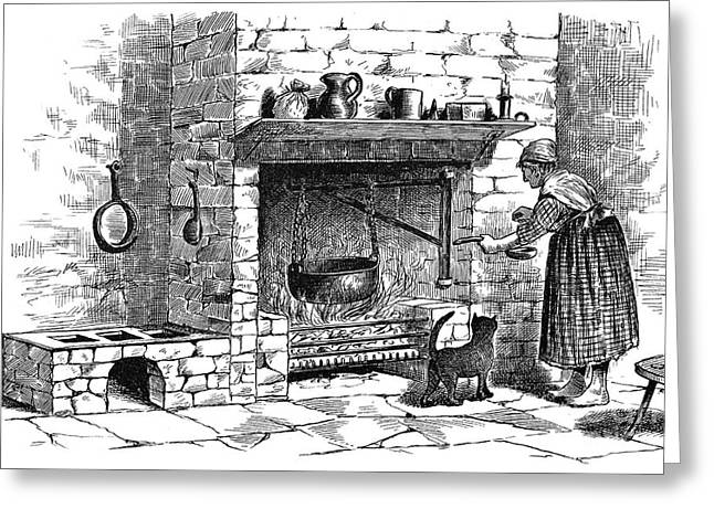 19th Century America Greeting Cards - KITCHEN, 19th CENTURY Greeting Card by Granger