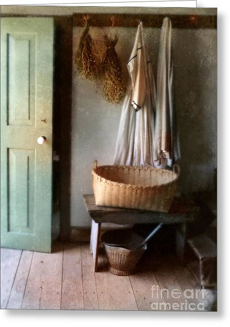Interior Still Life Photographs Greeting Cards - Kitchen Door in Old House Greeting Card by Jill Battaglia