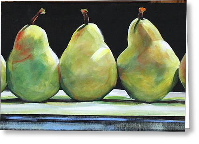 Green Pear Greeting Cards - Kitchen Pears Greeting Card by Toni Grote