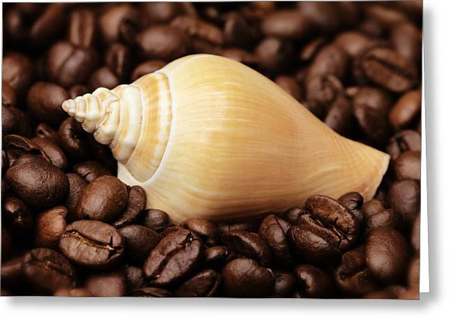Kaffee Greeting Cards - Kitchen Pictures Coffee beans Snail Greeting Card by Falko Follert