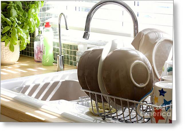 Kitchen Sink And Washing Up In Summer Sunlight Greeting Card by Simon Bratt Photography LRPS