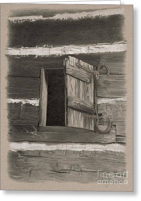 Log Cabin Art Drawings Greeting Cards - Kitchen Window Greeting Card by Nancy Hilgert