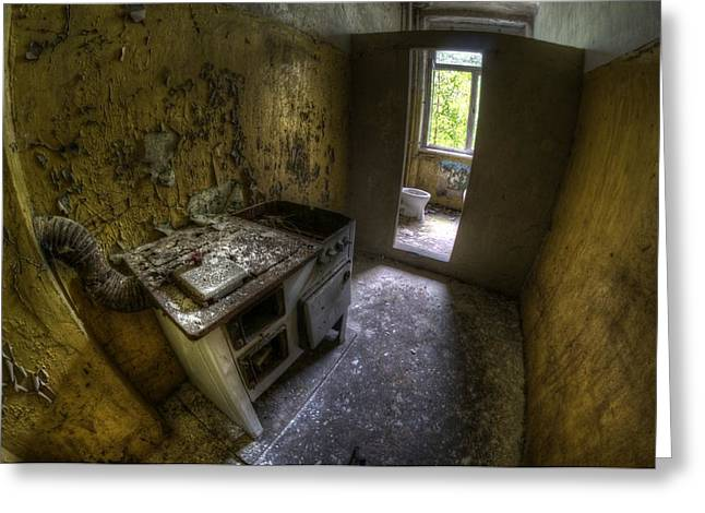 Horror House Greeting Cards - Kitchen with a loo Greeting Card by Nathan Wright
