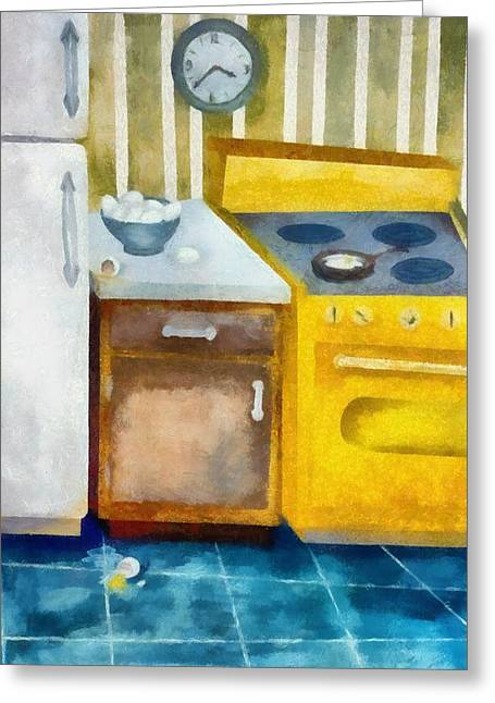 Fries Digital Greeting Cards - Kitchen with Broken Eggs Greeting Card by Michelle Calkins
