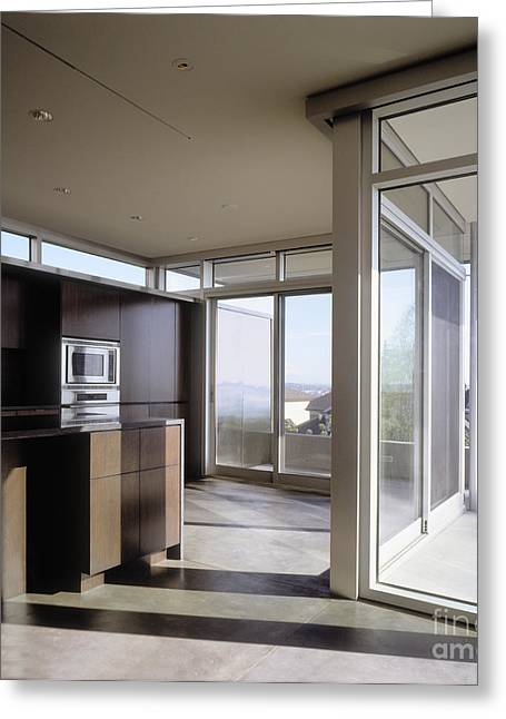 """""""sliding Doors"""" Greeting Cards - Kitchen With Glass Sliding Doors Greeting Card by Robert Pisano"""