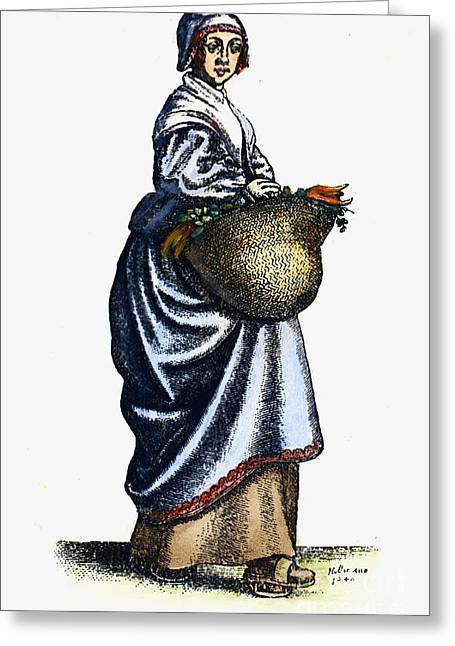 Housemaid Greeting Cards - KITCHENMAID, 17th CENTURY Greeting Card by Granger