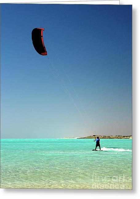 Best Sellers -  - Kite Boarding Greeting Cards - Kite Boarder Greeting Card by Caroline Walker