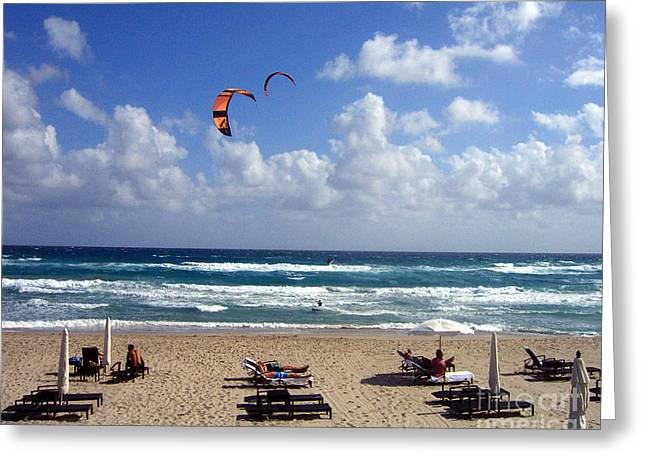 Recently Sold -  - Kite Boarding Greeting Cards - Kite Boarding in Boca Raton Florida Greeting Card by Merton Allen