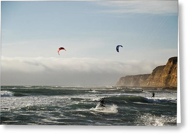 Best Sellers -  - Kite Boarding Greeting Cards - Kite boarding in high winds under the bluffs Greeting Card by Mark Emmerson