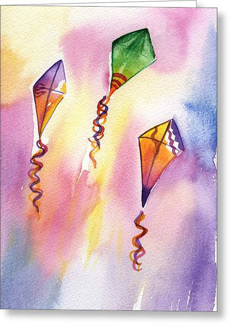 Kite Paintings Greeting Cards - Kite Rockets Greeting Card by Lydia Irving